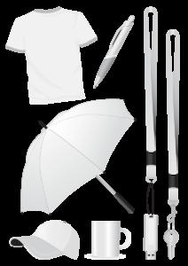 Weiße Artikel: T-Shirt, Kuli, Regenschirm, Schlüsselbänder, Schirmmütze, Becher, Schlüssel